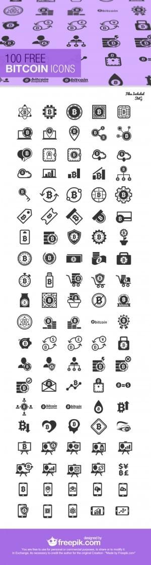 Freebie: The Bitcoin Icon Set (100 Icons, SVG & JPG)