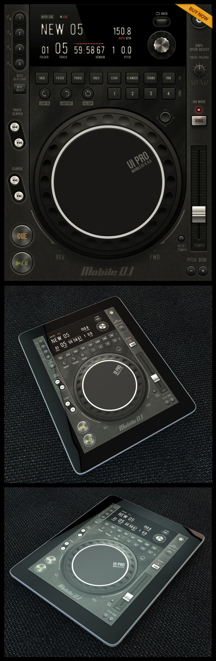 Mobile DJ Tablet #ui #ios #iPad | Design Inspiration