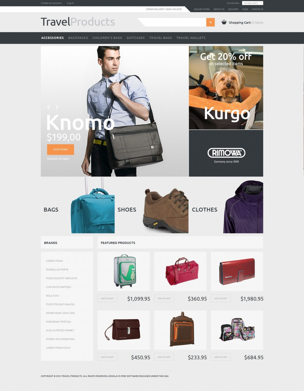 'Travel Products' VirtueMart Template 48226