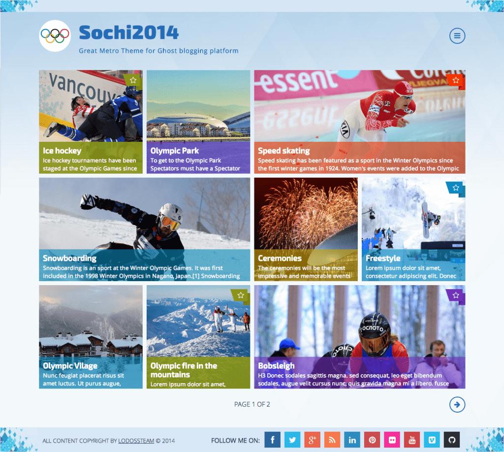 Sochi2014 – Metro Style, Responsive Ghost Theme