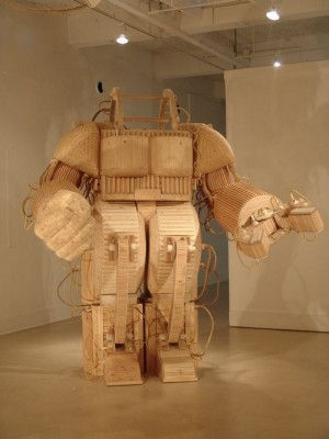 Robot Sculpture Made of Wood | Art