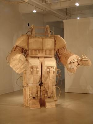 Robot Sculpture Made of Wood   Art