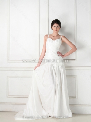 A-line Spaghetti Straps Taffeta Court Train Ruffles Wedding Dresses