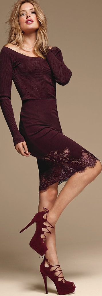 Victoria's Secret Lace-Trim Pencil Skirt