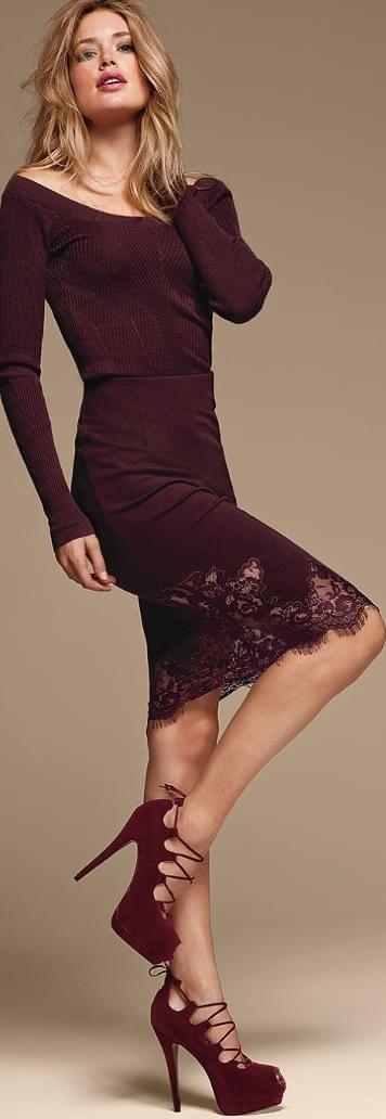 Victoria's Secret Lace-Trim Pencil Skirt