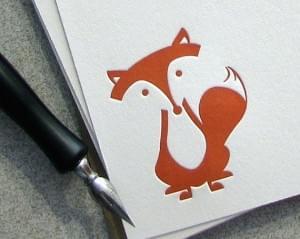 Fox Letterpress Note Card Set: Sitting Fox, Burnt Orange, Autumn, Fall
