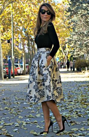 Full midi skirt in brocade – FrontRowShop