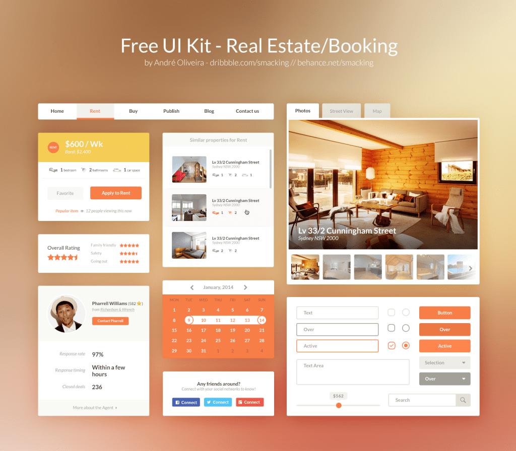 Free UI Kit PSD – Real Estate/Booking