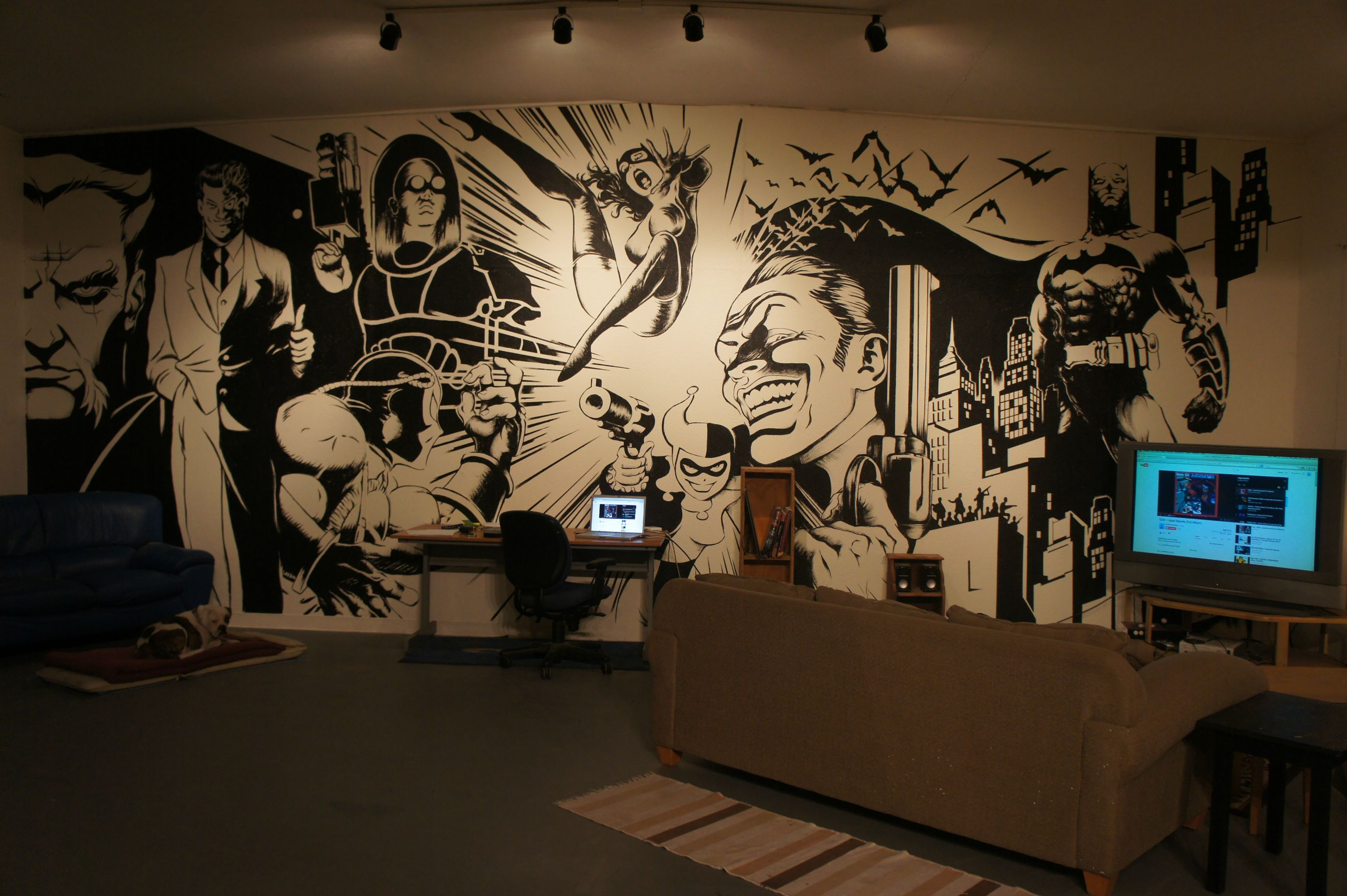Batman wall mural art on inspirationde - Wall decor murals ...