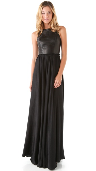 ONE by Marna Ro Shirred Waist Dress with Leather Bodice | SHOPBOP
