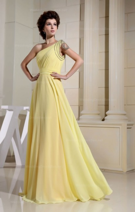One Shoulder  Floor Length Chiffon Dress With Beading Decoration  | WeddingDressBee