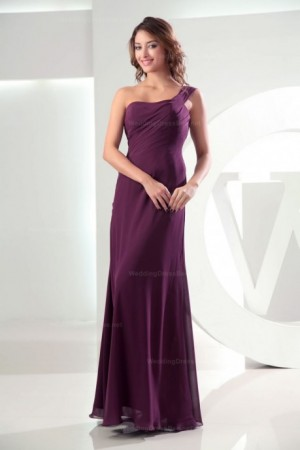 One-shoulder ruched top floor length chiffon dress –  | WeddingDressBee