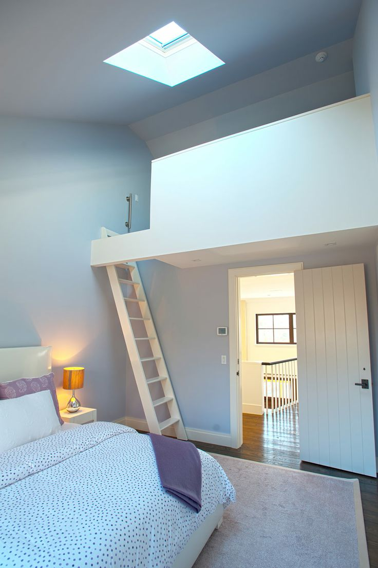 The kids would have fun in this bedroom with a loft!