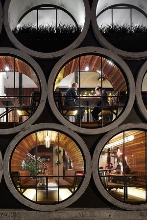 A Cool Hotel Bar Built Using Gigantic Concrete Tubes