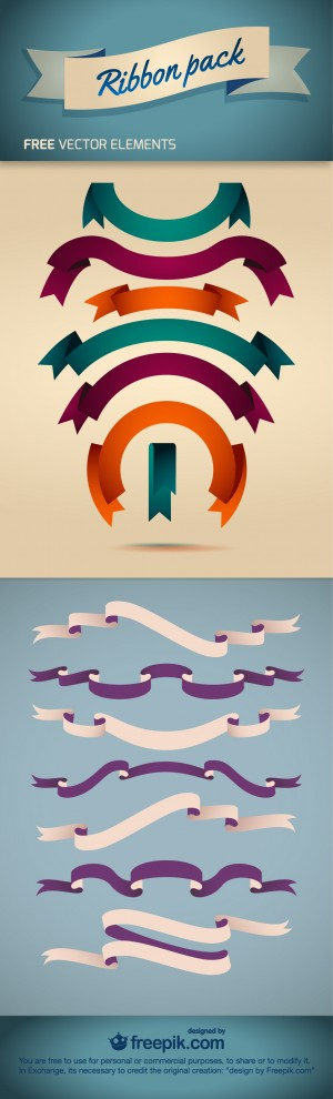 Ribbon Pack – Free Vector Element | Downgraf