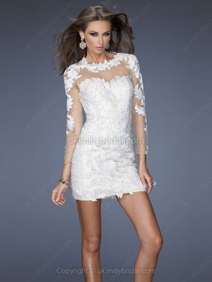 Sheath/Column Scoop Tulle Short/Mini Appliques Cocktail Dresses