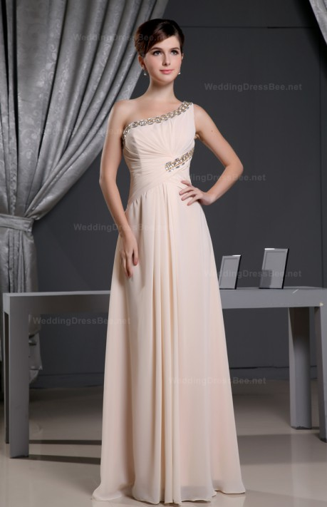 Shiny Single Shoulder Chiffon Dress –  | WeddingDressBee