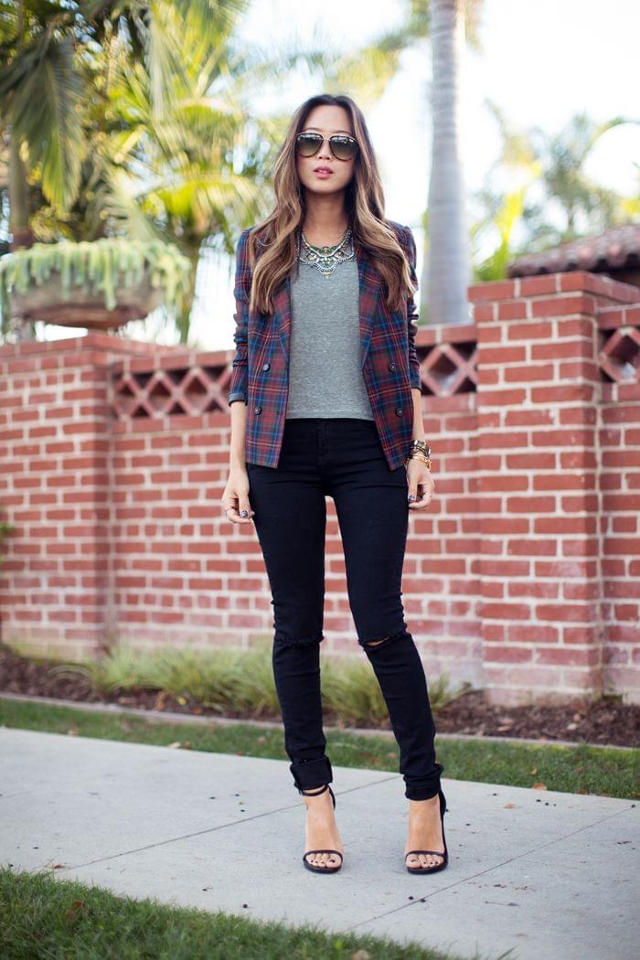song-of-style-tartan-blazer-skinny-jeans | StreetStyle Love | Pintere…