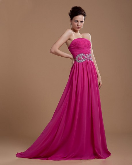 Strapless Floor Length Chiffon Evening Dress With Beaded Waistline |