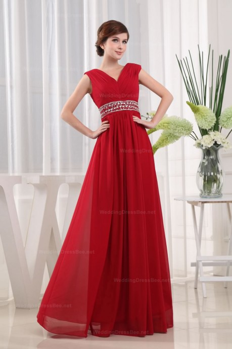 V-Neck Beaded Waist Chiffon Slim A-Line Evening Dress at 138.98  | WeddingDressBee