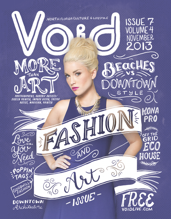 Void Magazine cover design using creative typography and illustration with a purple background