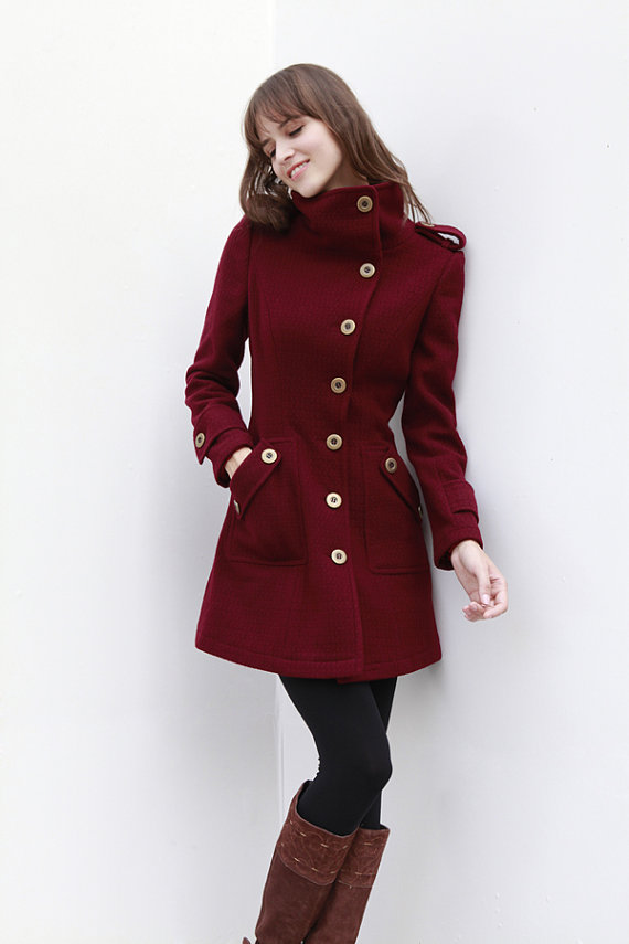 Wine Red Coat Fitted Military Style Wool Winter by Sophiaclothing