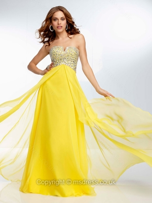 A-line Notched Chiffon Floor-length Beading Prom Dresses