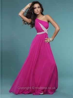 A-line One Shoulder Chiffon Floor-length Beading Prom Dresses
