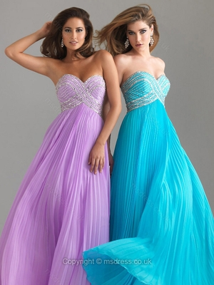 A-line Sweetheart Chiffon Floor-length Beading Prom Dresses
