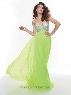 A-line Sweetheart Chiffon Floor-length Sleeveless Beading Prom Dresses