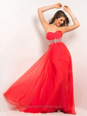 A-line Sweetheart Chiffon Floor-length Sleeveless Beading Prom Dresses