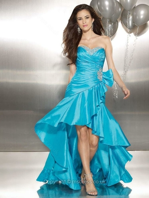 A-line Sweetheart Taffeta Asymmetrical Beading Prom Dresses