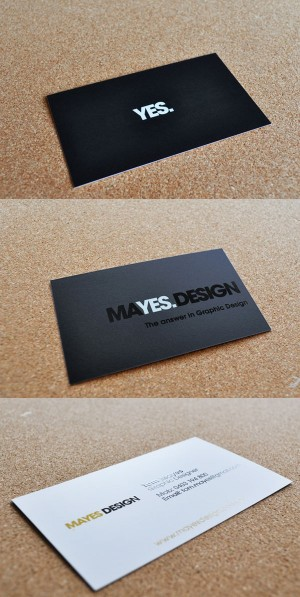 Yes. Mayes Design. Black Business Cards Inspiration