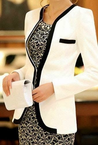 Elegant Slim Fit White & Black Blazer