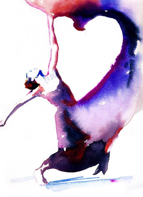 Dancer Art Print of Watercolor painting.  by silverridgestudio
