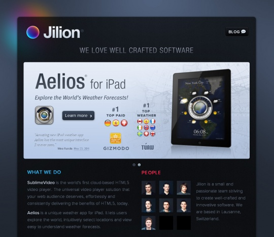 Dark Themed Web Design | JILION