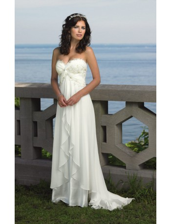 Elegant Hot Sale Sweetheart Chiffon Sweep Train Beach Wedding dress – CDdress.com