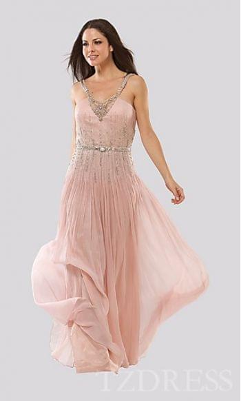 Embellished A-Line Long Natural Sleeveless Evening Dresses Cheap tzdress2597