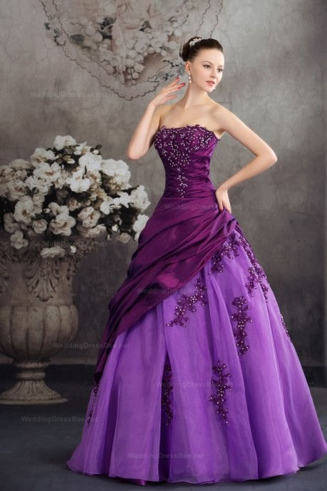 Fantastic Lace Appliques Detailed Taffeta Over Organza Ball Gown Dress  | WeddingDressBee