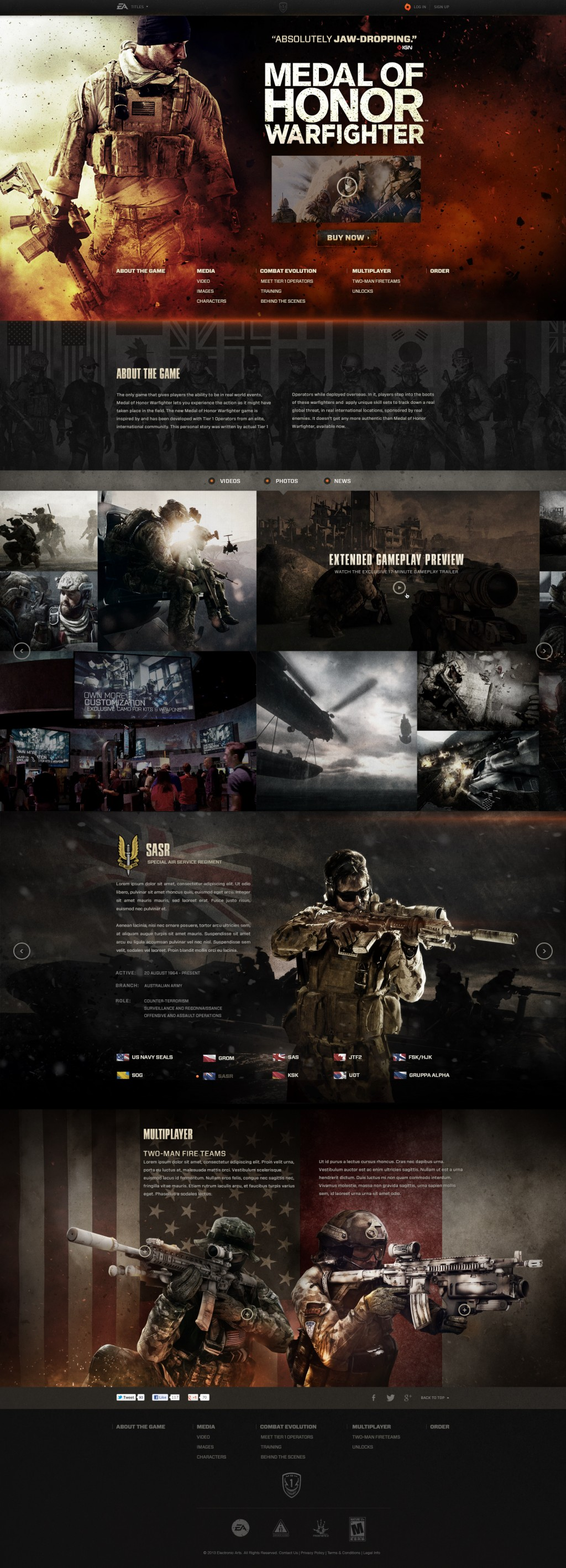 Medal of Honor Warfighter Site Redesign