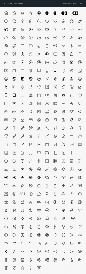 2,000+ High-Quality, iOS Tab Bar and Toolbar Icons