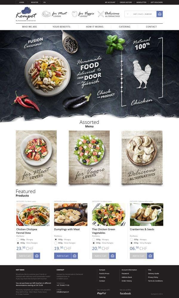 Homemade Food in Zürich on Behance | UI & Web Design
