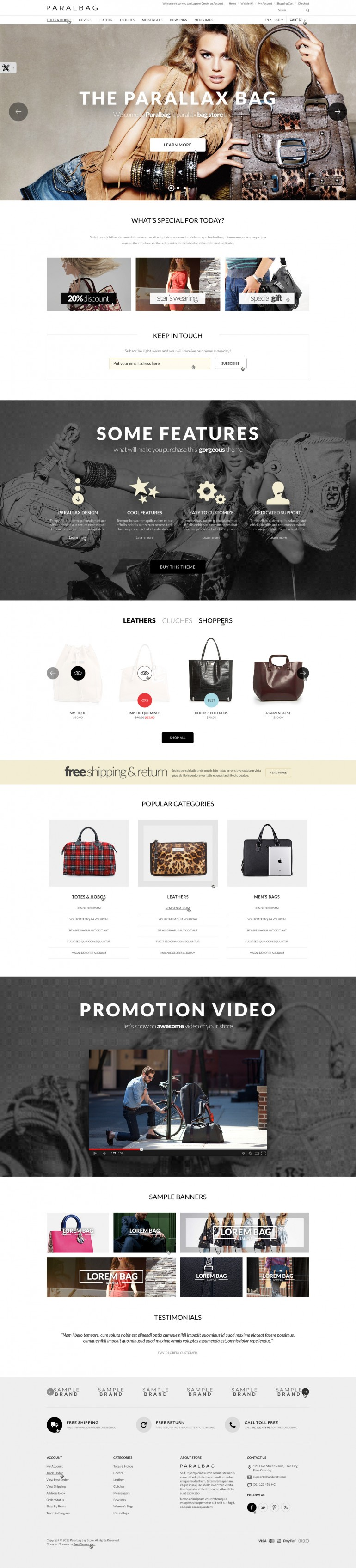 Opencart Fashion Bag Store – Parallax