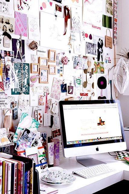Inspo board behind the desk- love this idea!