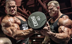 Bodybuilders Evan Centopani and Dennis Wolf Working Out