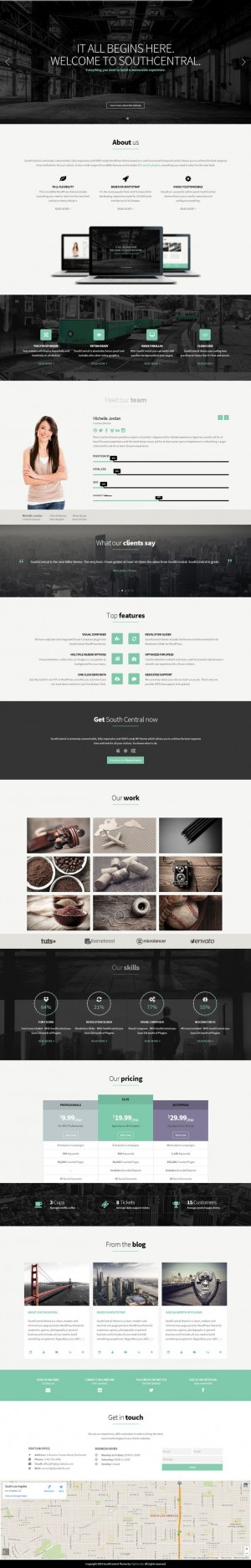 SouthCentral – One Page Parallax WordPress Theme