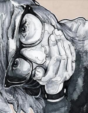 self portrait contour + ink wash Paul Clay