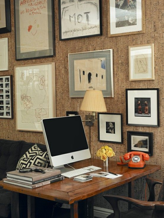 Miles Redd home office with cork wallcovering
