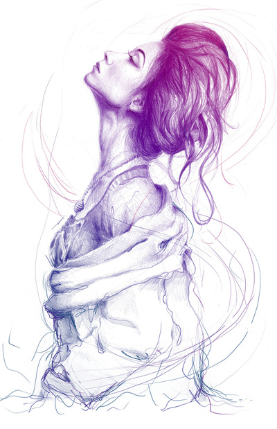 Pretty (Purple) Lady Art Print by Olechka