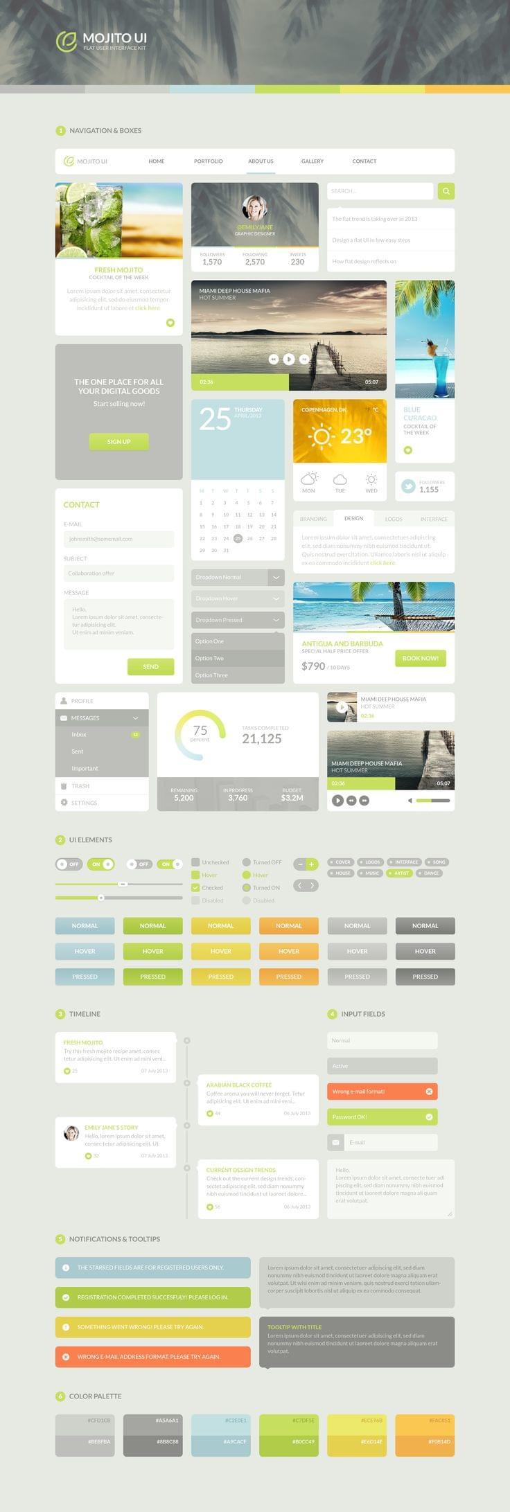 Flat UI kit Mojito UI